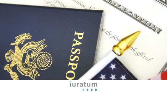 pasaporte y bandera de eeuu